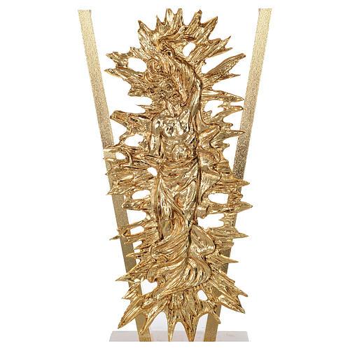 Altar de latón fundido con Cristo Resucitado, base de mármol, 102x150x60 cm 4