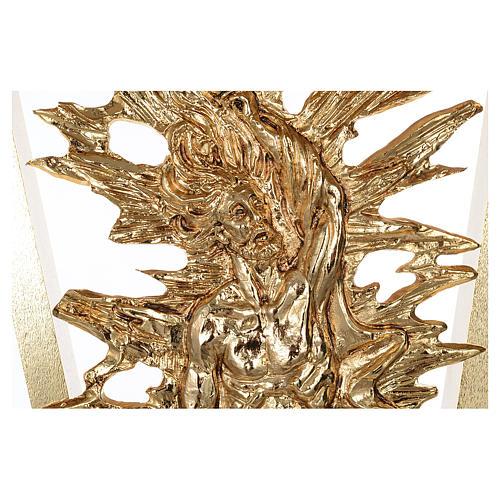 Altar de latón fundido con Cristo Resucitado, base de mármol, 102x150x60 cm 5