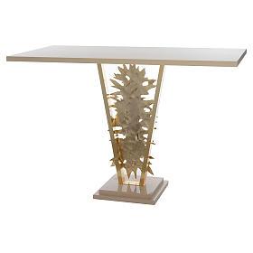 Autel laiton moulé Christ Ressuscité base marbre 102x150x60 cm s8