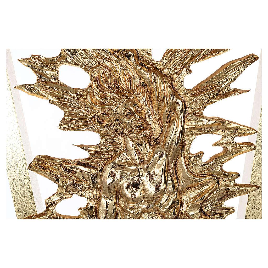 Altare ottone fuso Cristo risorto base marmo 102x150x60 cm 4