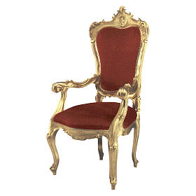 Armchair in hand-carved wood & gold leaf s1