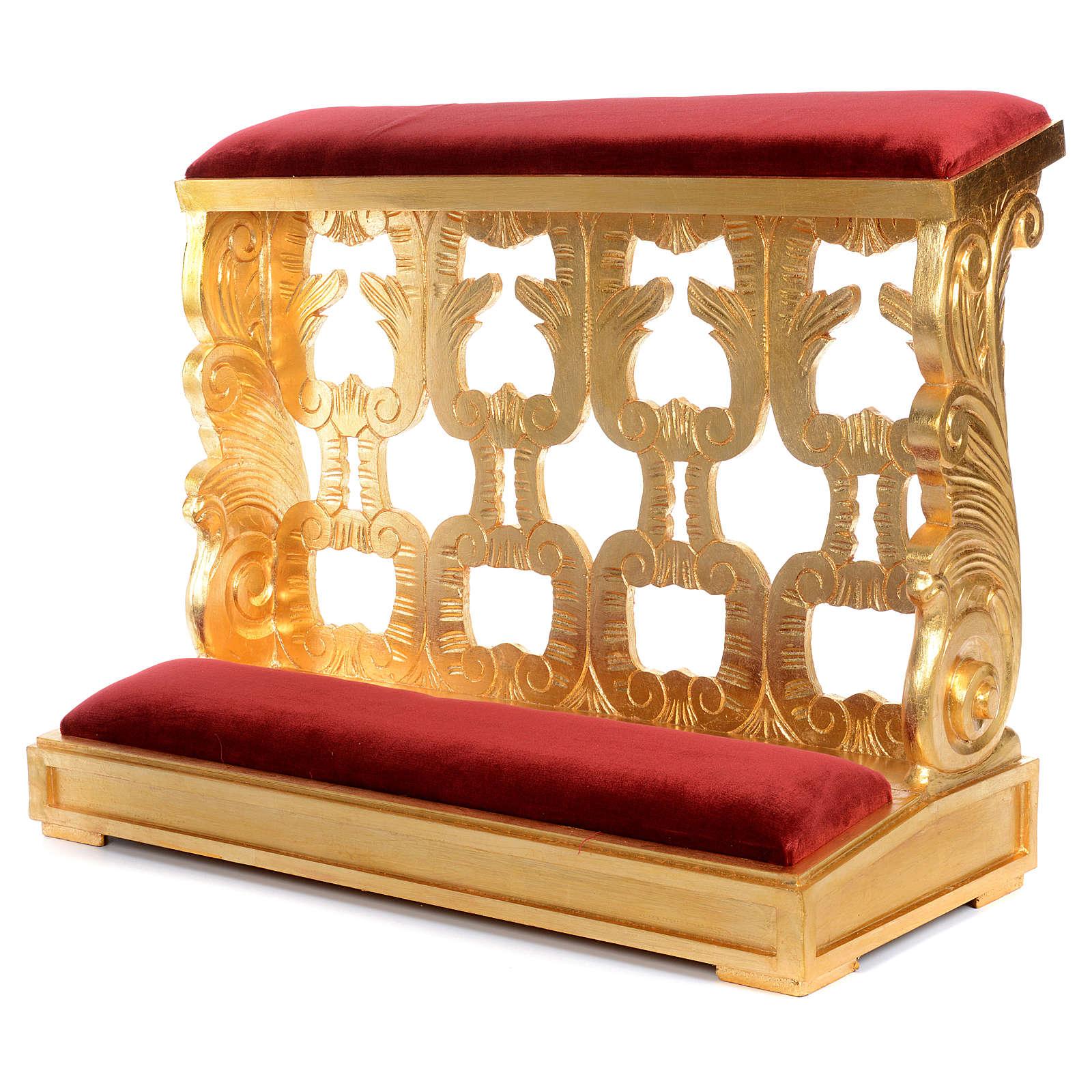 Inginocchiatoio legno intagliato a mano foglia oro inalterabile 2 posti 4