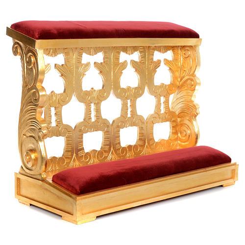 Inginocchiatoio legno intagliato a mano foglia oro inalterabile 2 posti 1