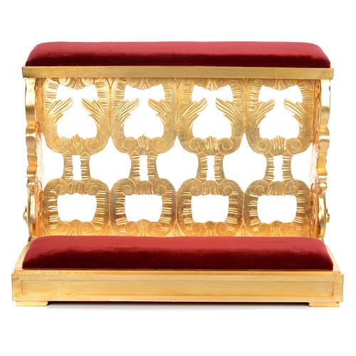 Inginocchiatoio legno intagliato a mano foglia oro inalterabile 2 posti 3