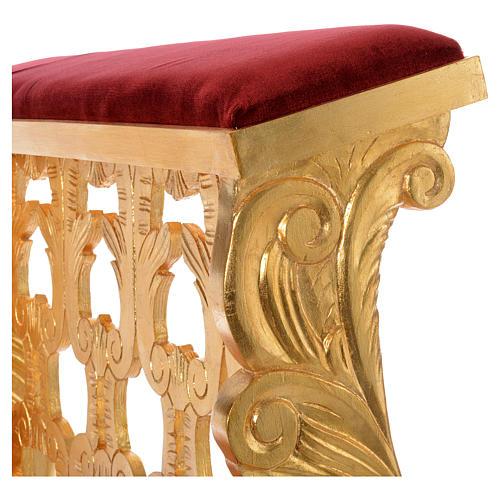 Inginocchiatoio legno intagliato a mano foglia oro inalterabile 2 posti 5
