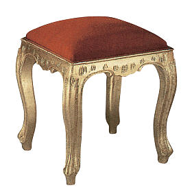 Stool in hand-carved wood & gold leaf s1