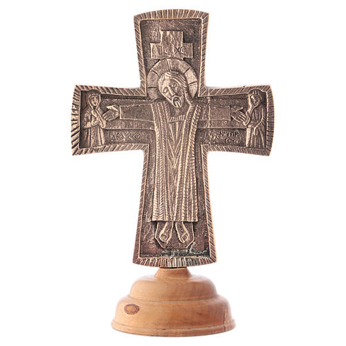 Altar crucifix Christ Priest and King Bethlehem monks 28x19cm 1