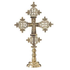 Altar crucifix Christ glorious Bethlehem monks 31x19cm s1