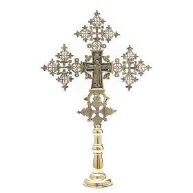 Croce da altare Cristo Glorioso Monaci di Betlemme 75x49 cm s1