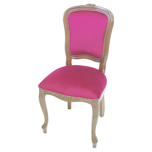 Chaise baroque bois noyer velours rouge 1