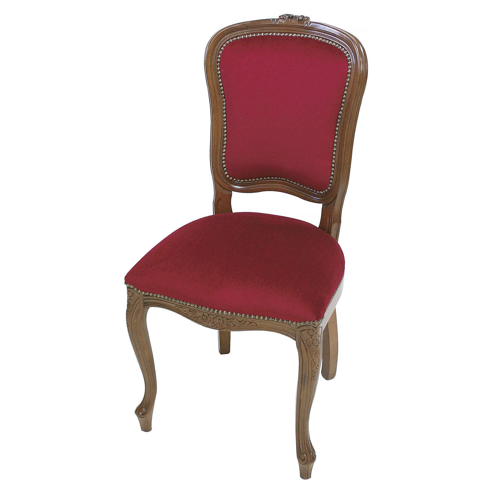 Sedia barocca legno noce velluto rosso   vendita online su ...