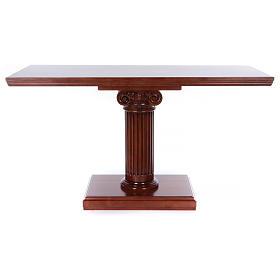 Ambos, kneelers, church furniture: Altar with column in walnut wood 170x70x92cm