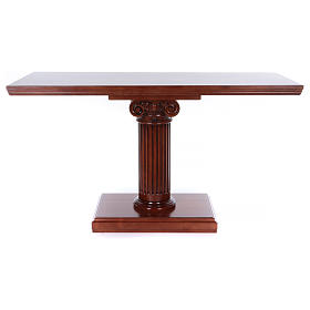 Ambos, kneelers, church furniture: Altar with column in walnut wood 170x70x92cm