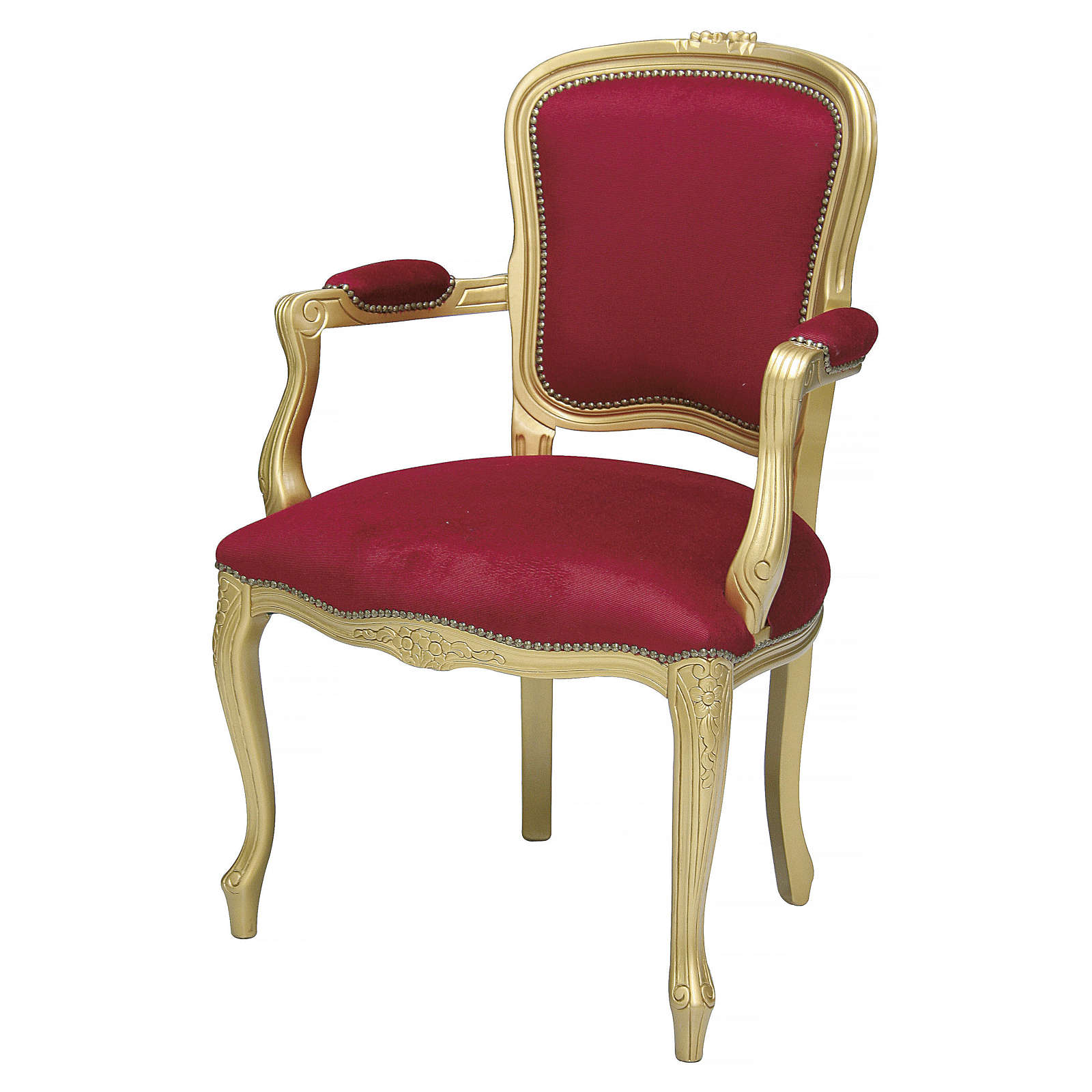 Armchair in walnut wood & gold leaf, red velvet baroque style 4
