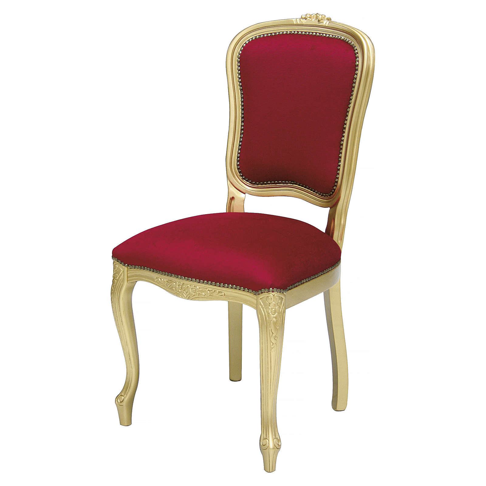 Chaise bois noyer baroque feuille or velours rouge 4