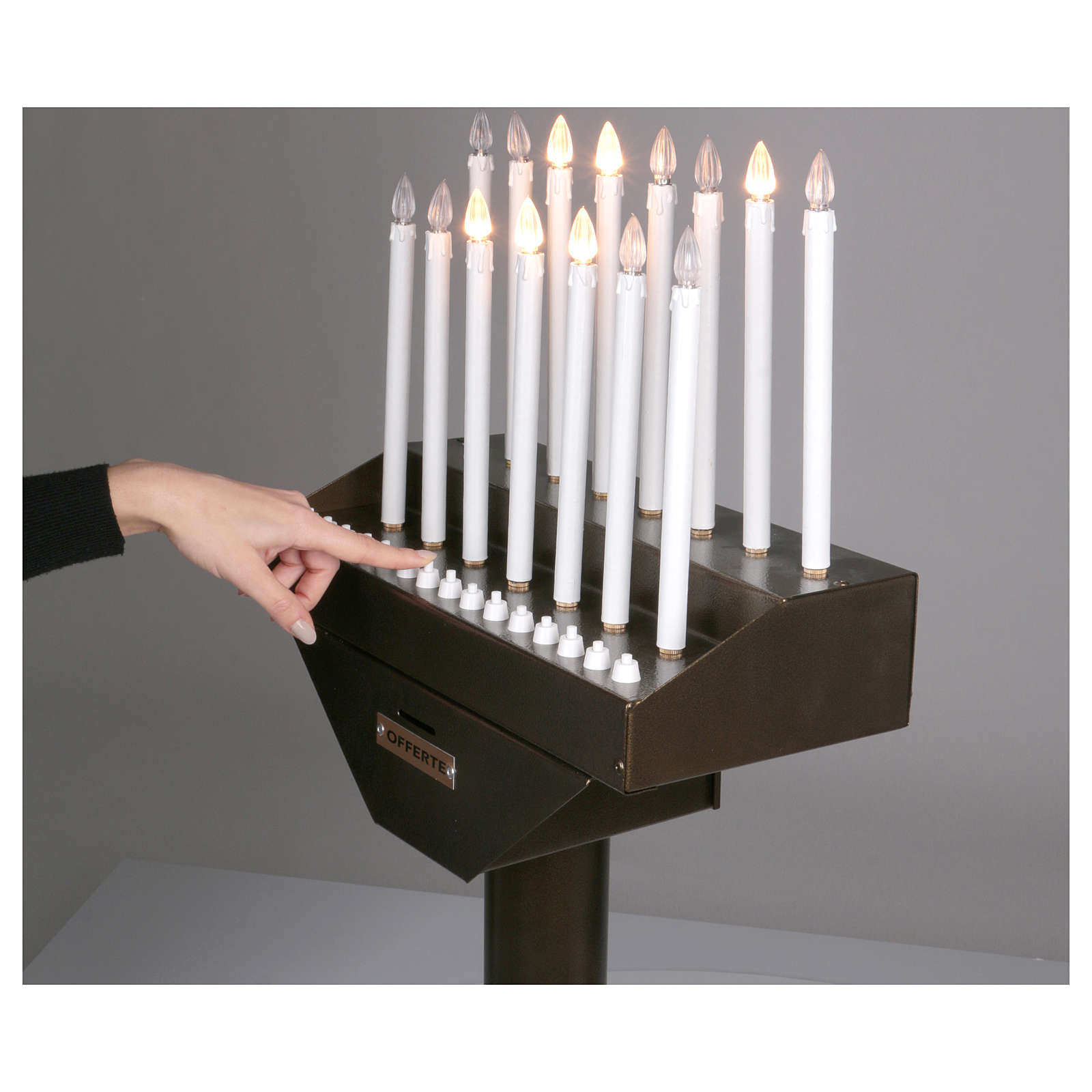 Electric votive offering with 15 candles, 12V lights and buttons 4
