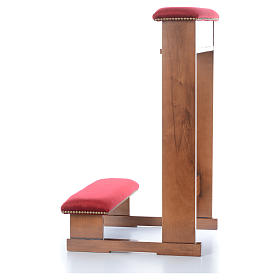 Kneeler Assisi model, light brown with red fabric s4