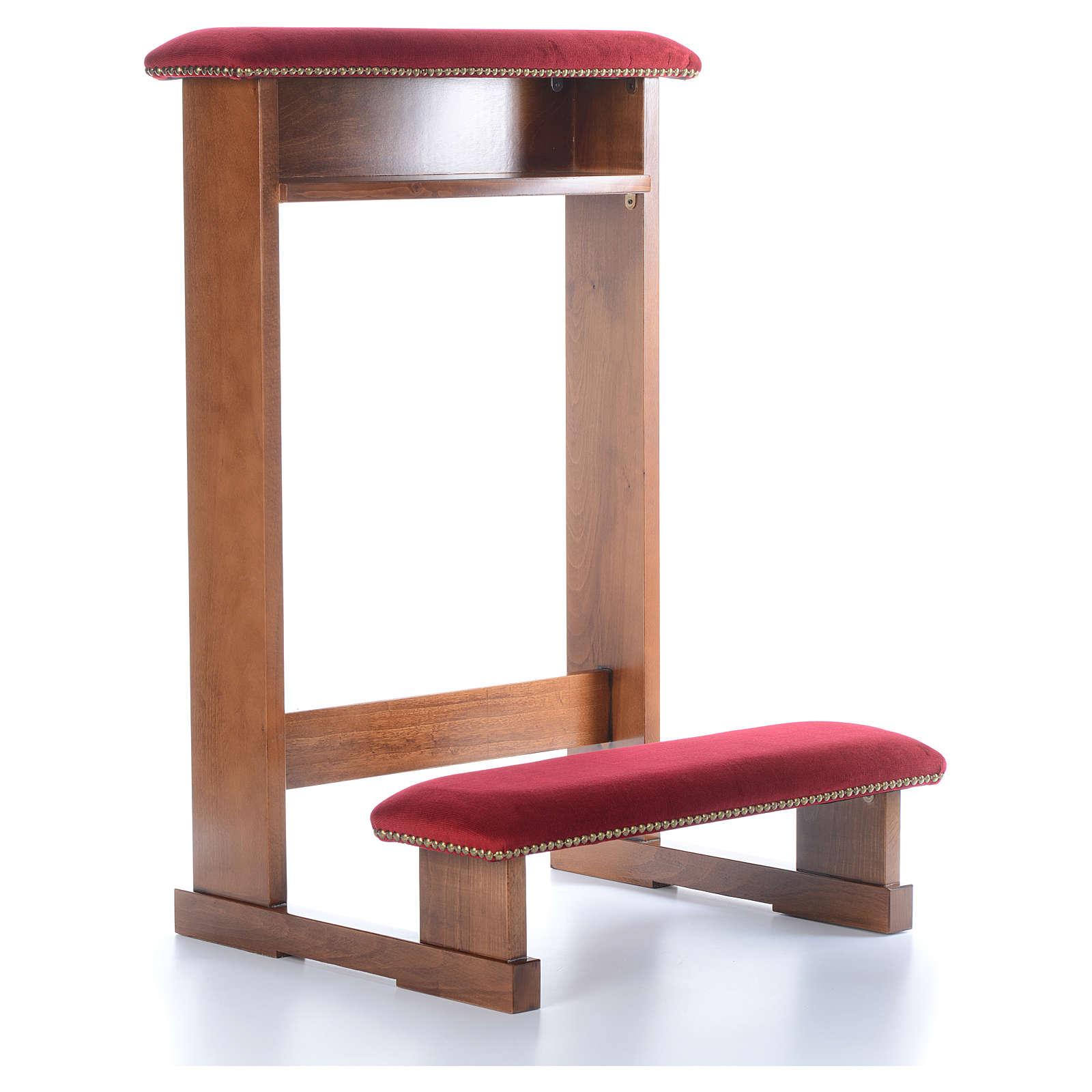 Reclinatorio modelo Asís marrón claro nogal tejido rojo 4
