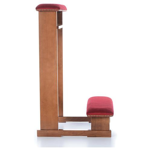 Reclinatorio modelo Asís marrón claro nogal tejido rojo 3