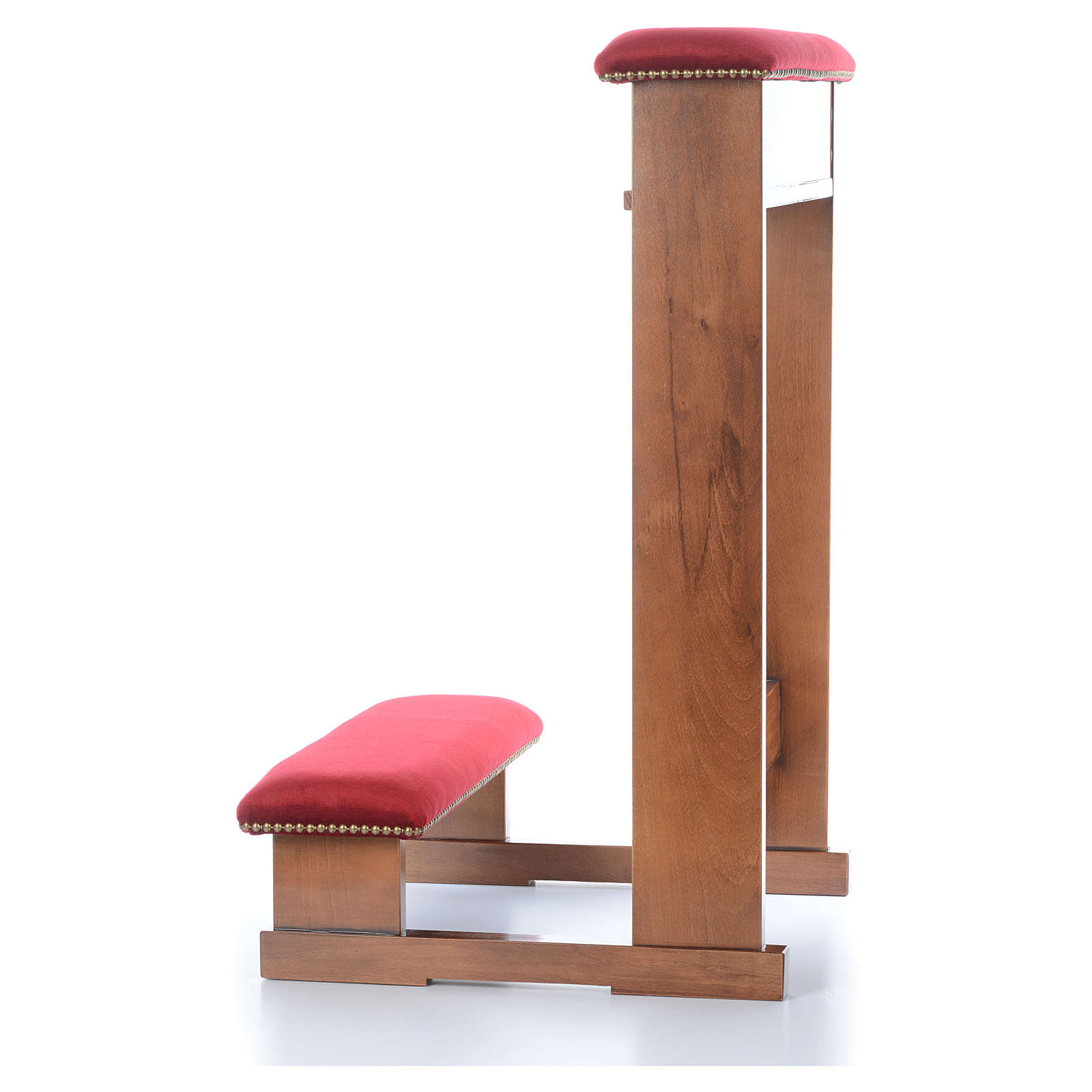 Prie-Dieu mod. 'Assisi' marron clair tissu rouge 4