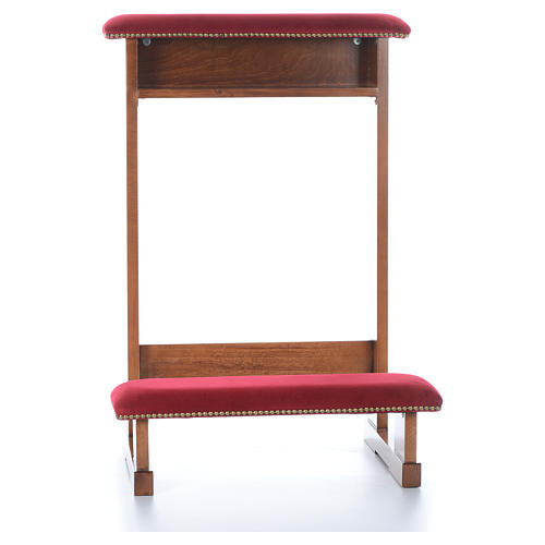 Kneeler Assisi model, light brown with red fabric 2