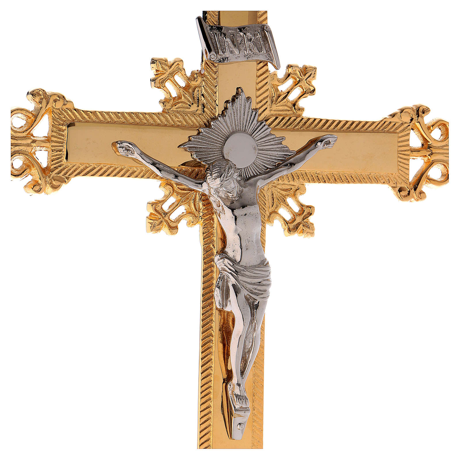 Altar crucifix 75 cm in golden brass 4