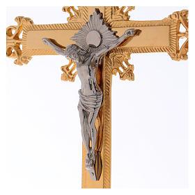 Altar crucifix 75 cm in golden brass s2