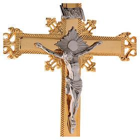 Altar crucifix 75 cm in golden brass s3