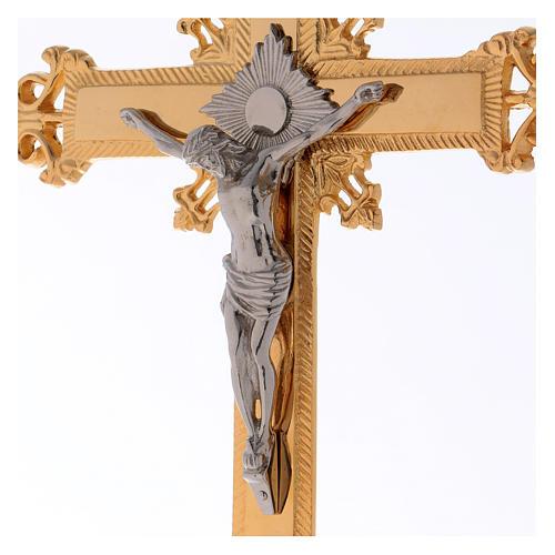 Altar crucifix 75 cm in golden brass 2