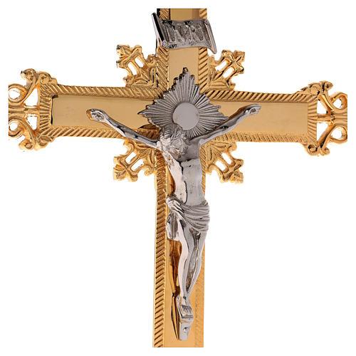Altar crucifix 75 cm in golden brass 3