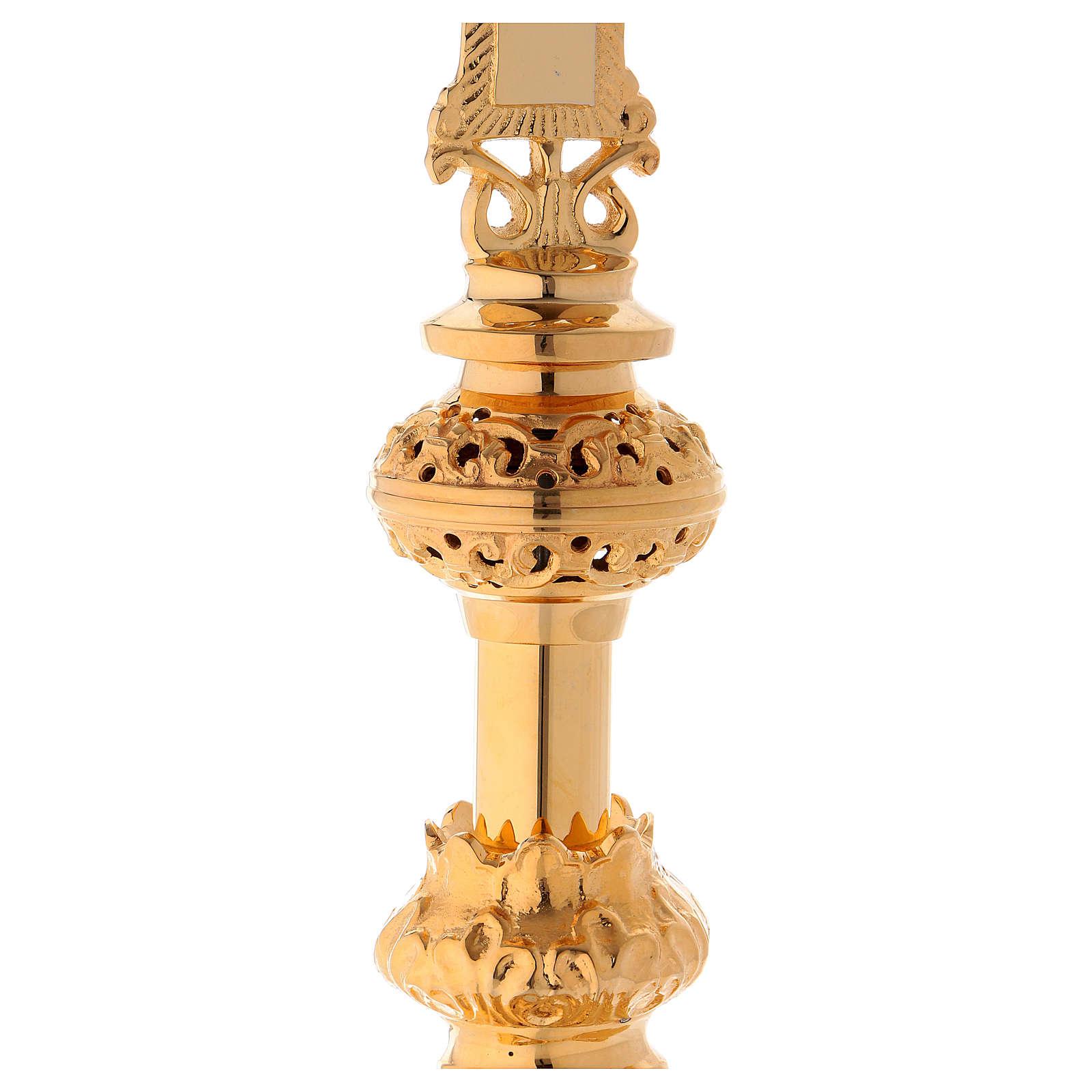 Crucifix d'autel 75 cm laiton doré 4