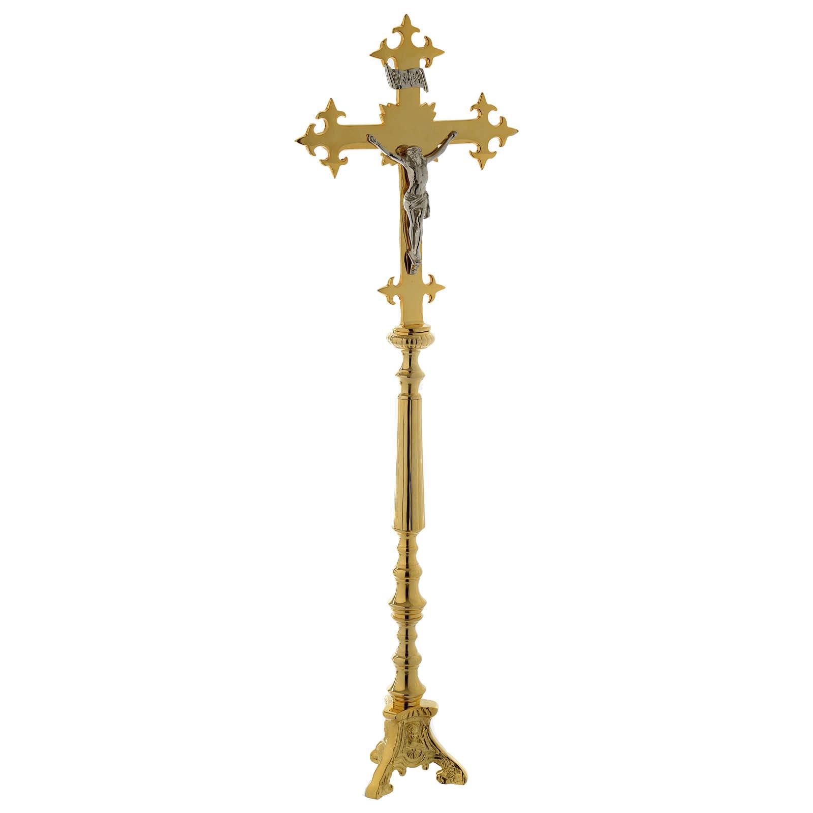 Altar crucifix 78 cm in golden brass 4