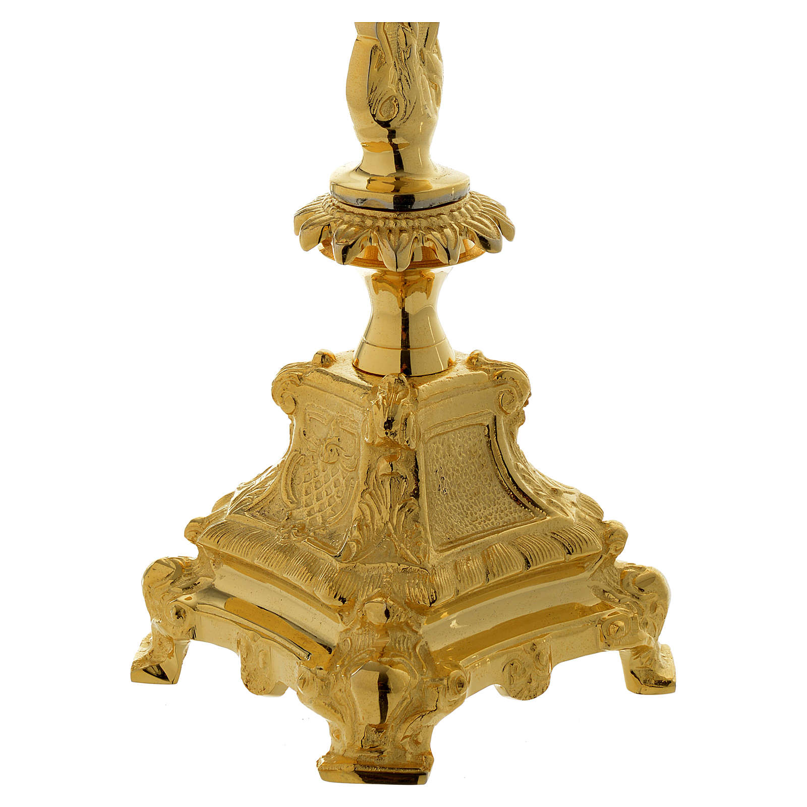 Crucifix d'autel 40 cm en laiton doré 4