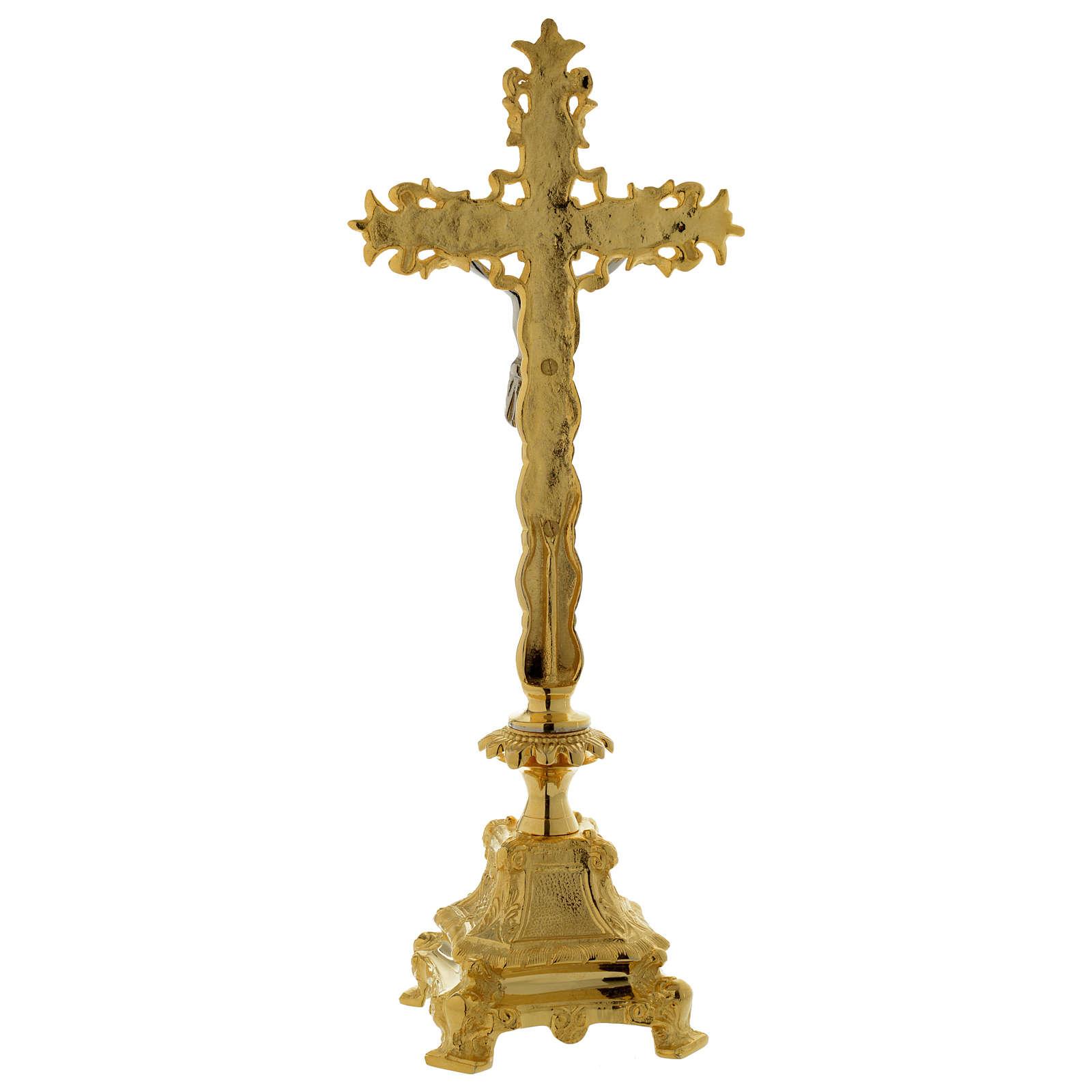 Krucyfiks ołtarzowy 40 cm mosiądz pozłacany 4