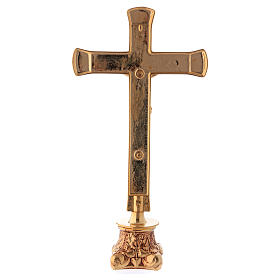 Crocefisso da altare in ottone dorato lucido con base anticata s3