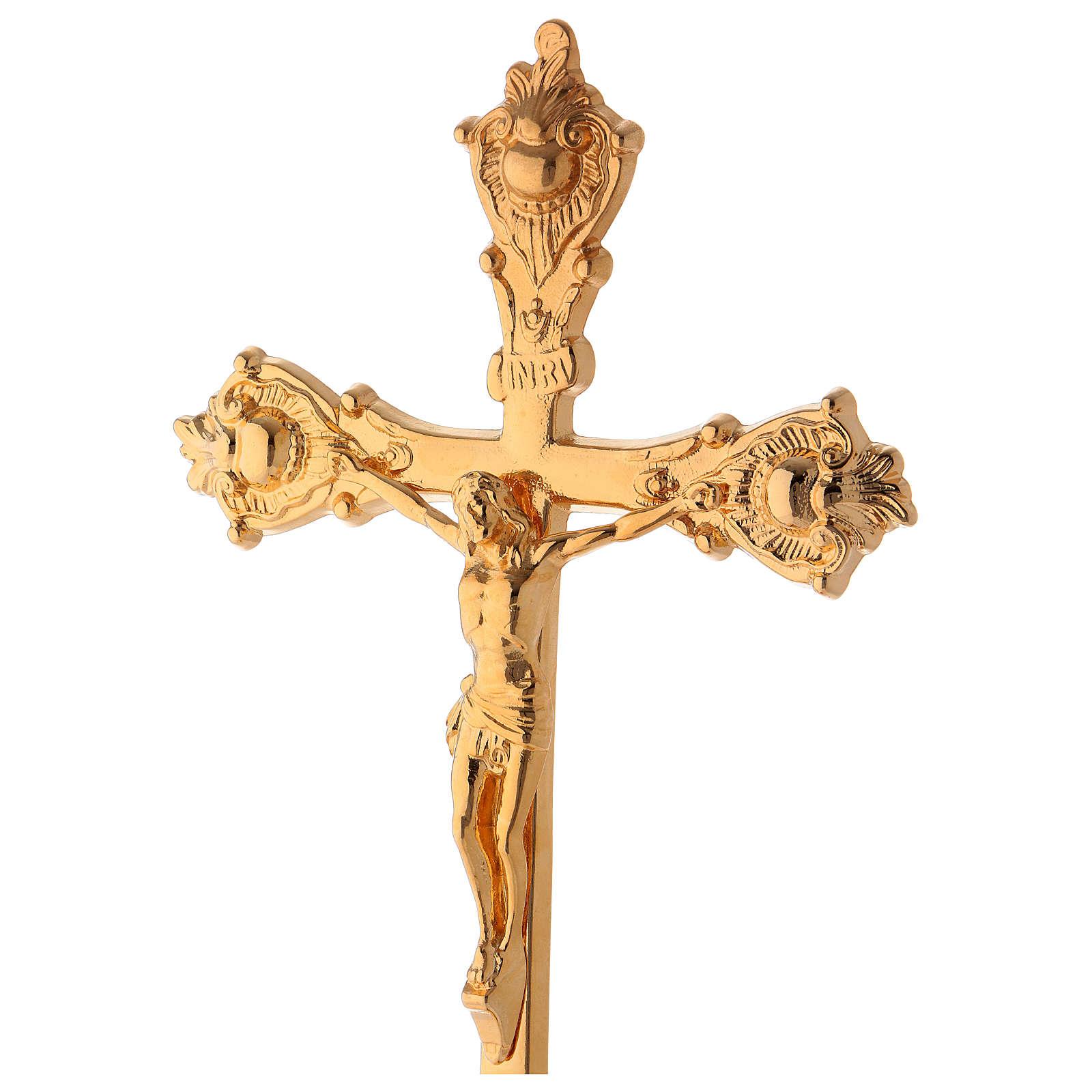Crucifijo de misa de latón dorado lúcido 38 cm 4