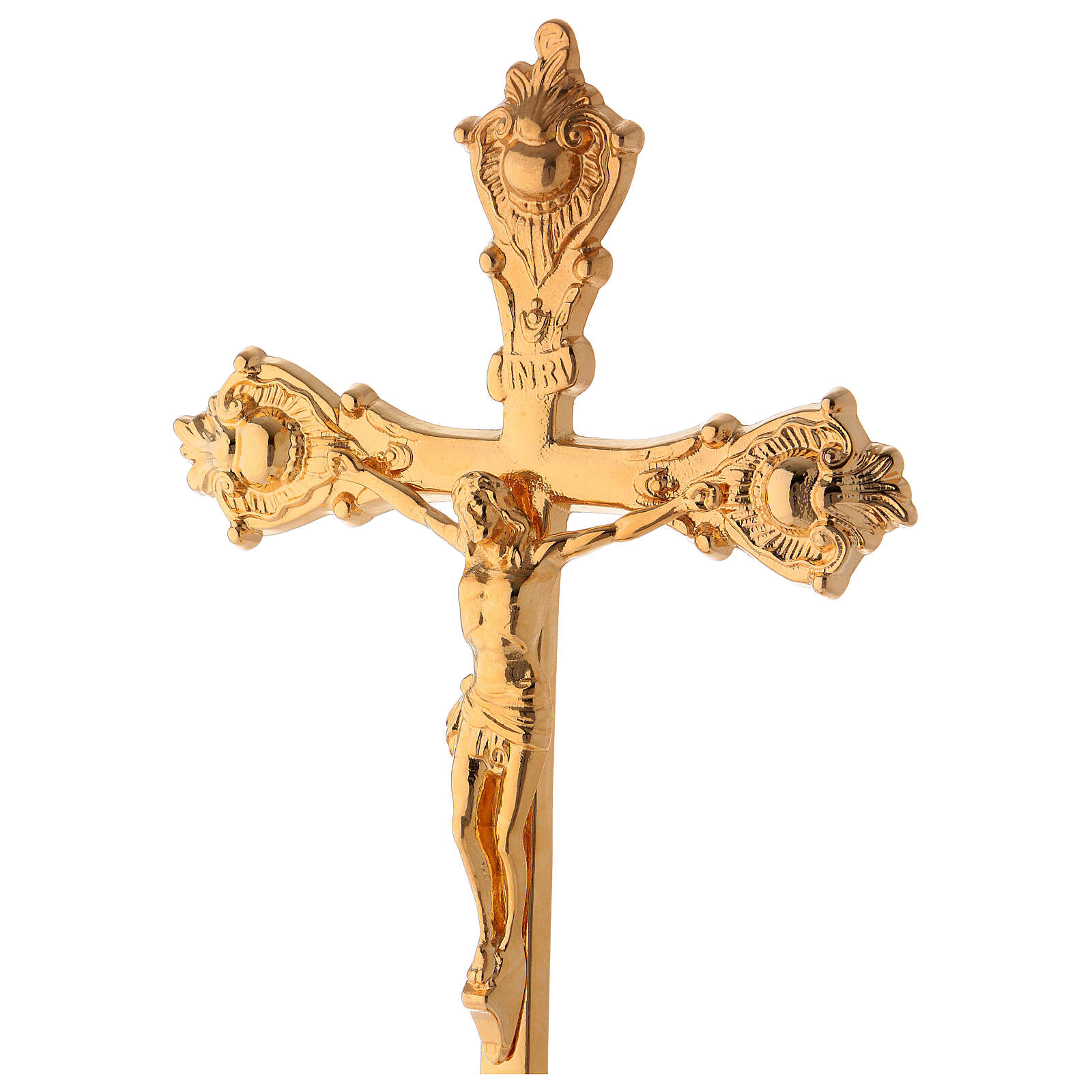 Altar crucifix of polished gold plated brass 15 in 4