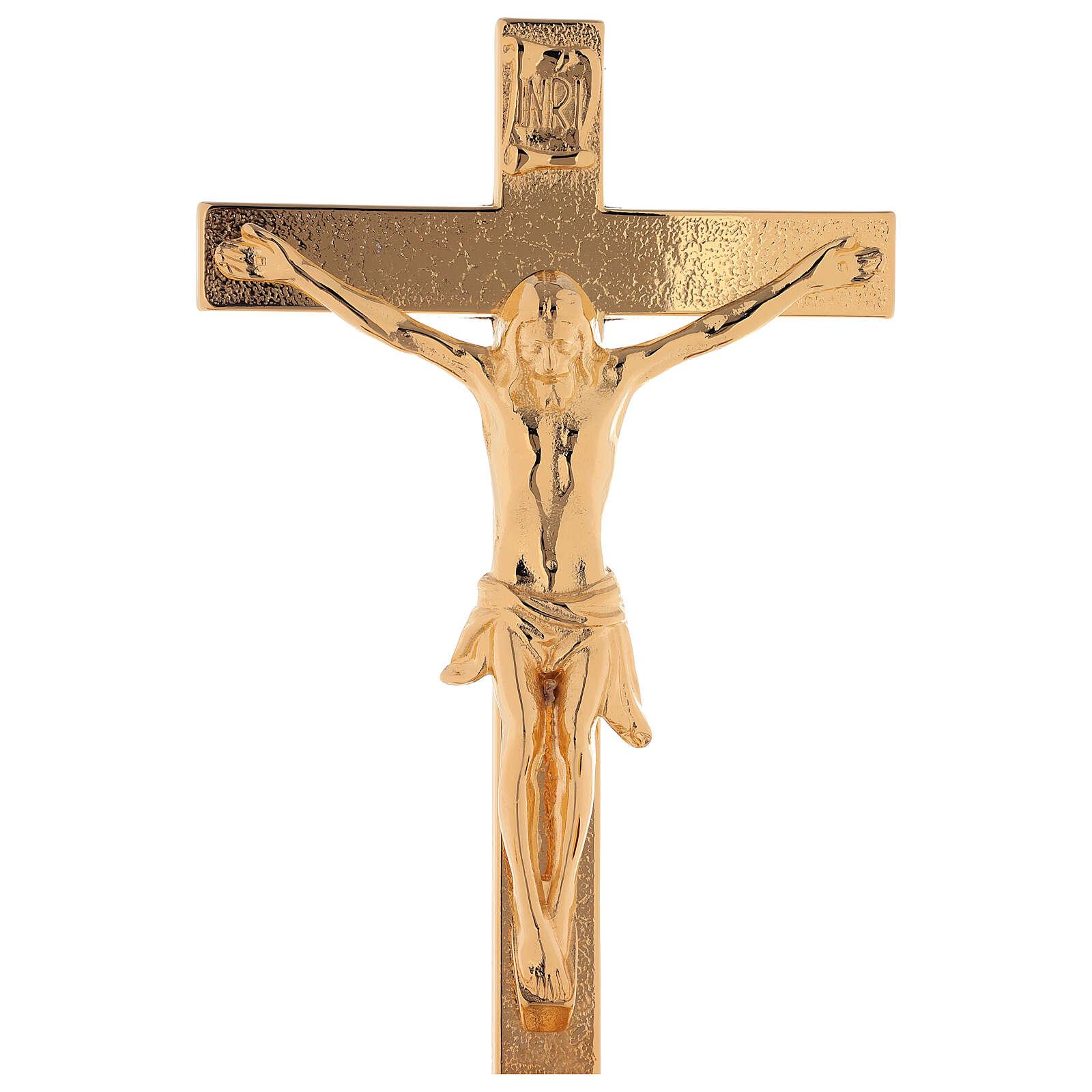 Completo de altar cruz con candeleros latón dorado 24k motivo en la base 4