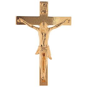 Completo de altar cruz con candeleros latón dorado 24k motivo en la base s2