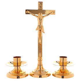 Completo da altare croce e candelieri ottone dorato 24k decoro alla base s1