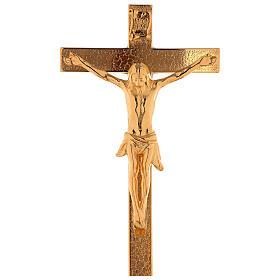 Set de altar cruz y candeleros uva y cruz latón dorado 24k s2