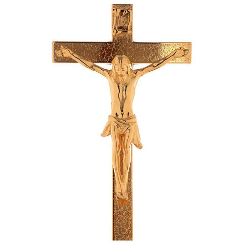 Set de altar cruz y candeleros uva y cruz latón dorado 24k 2
