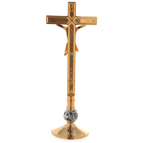 Set de altar cruz y candeleros uva y cruz latón dorado 24k 7