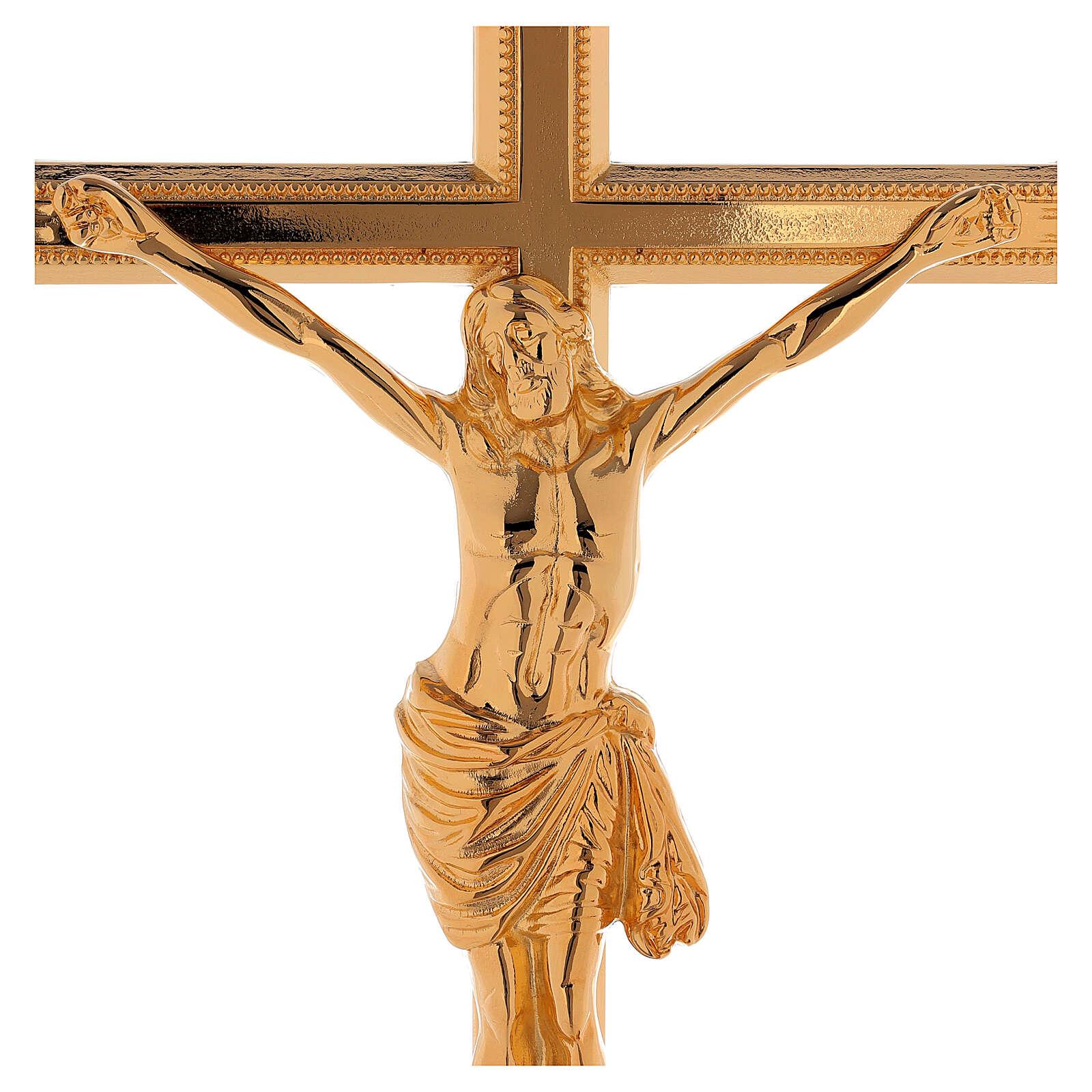 Set de altar cruz y candeleros bajo latón dorado 24k 4