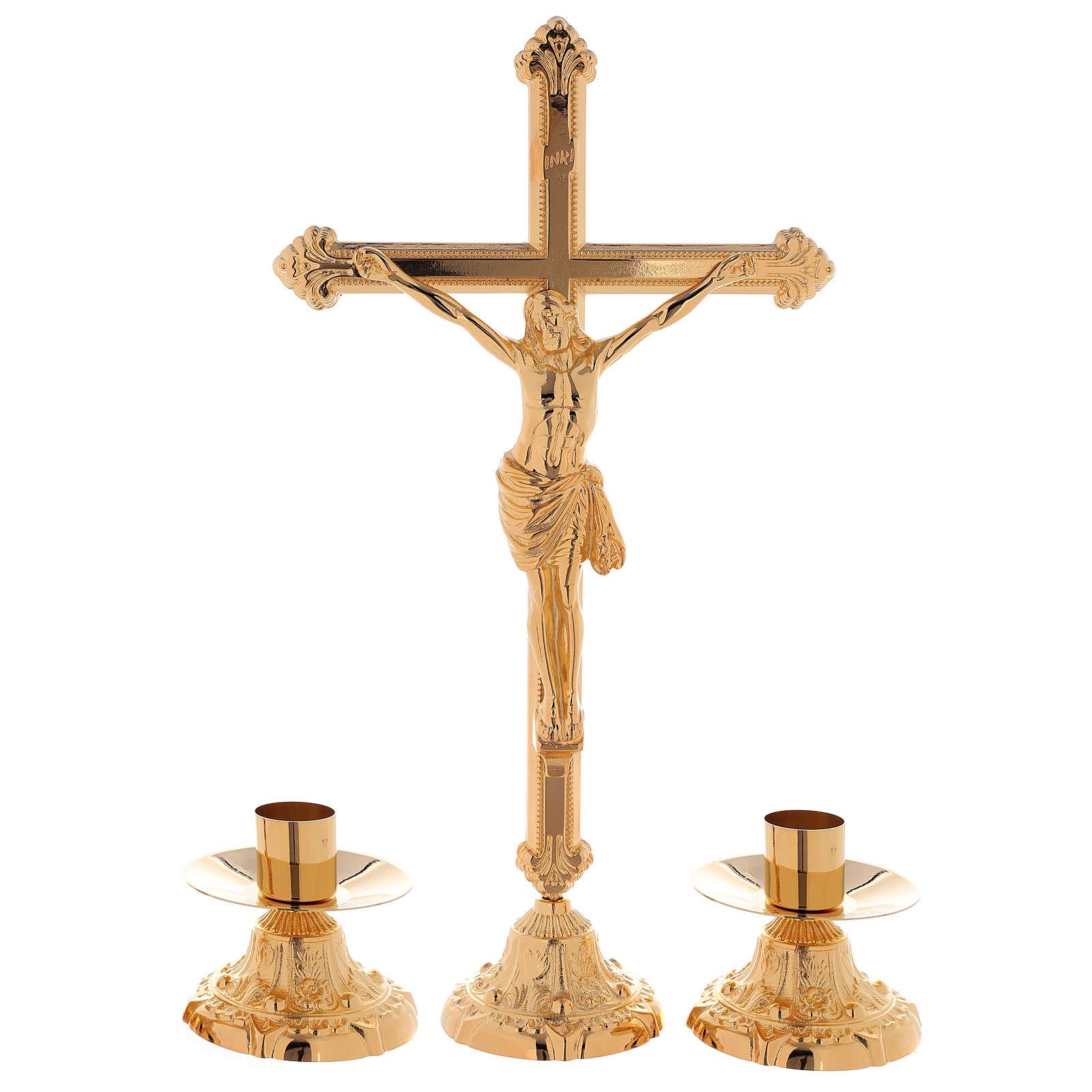 Set da altare croce e candeliere e candeliere basso ottone dorato 24k 4