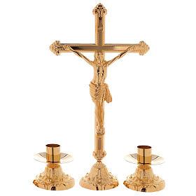 Set da altare croce e candeliere e candeliere basso ottone dorato 24k s1