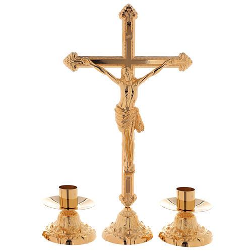 Set da altare croce e candeliere e candeliere basso ottone dorato 24k 1