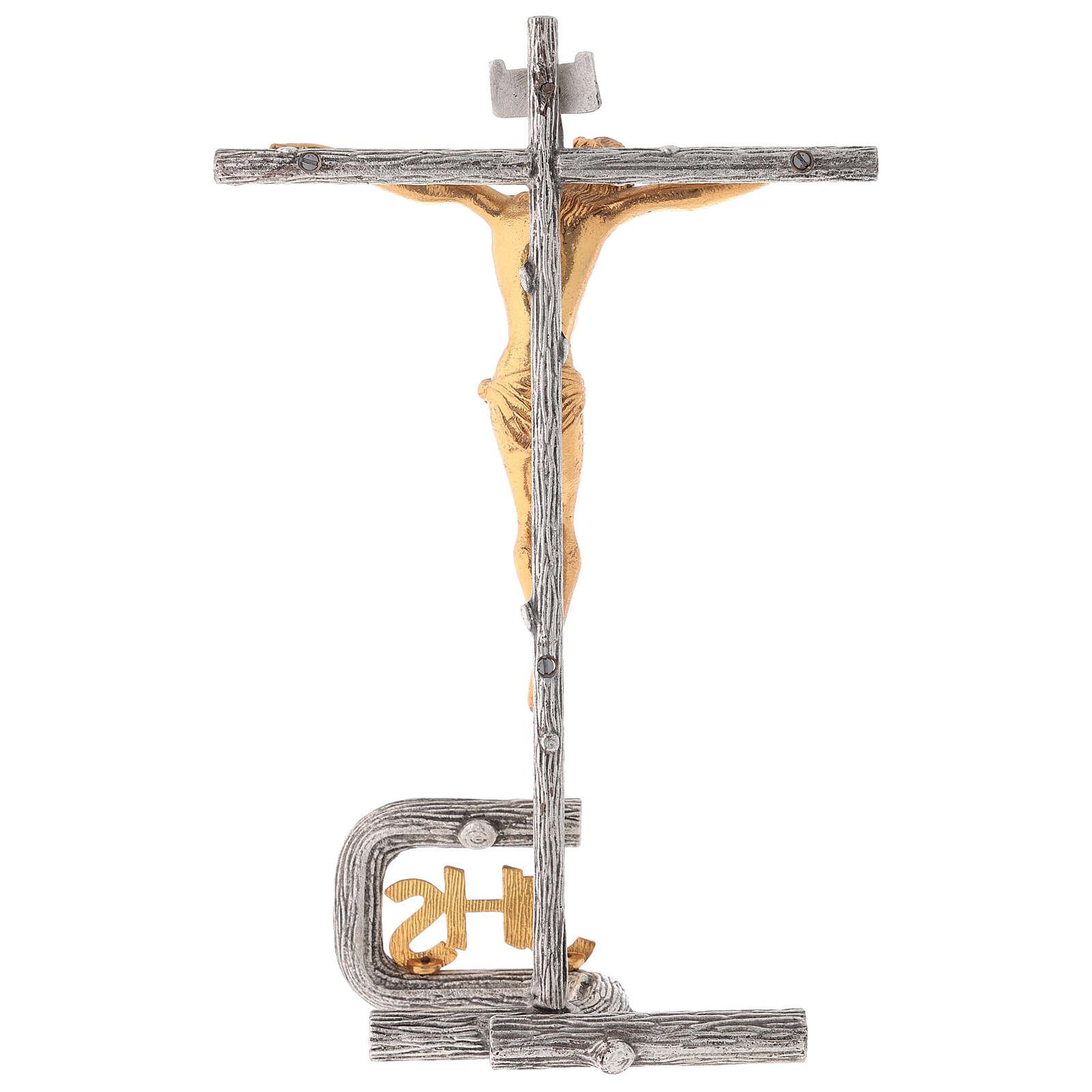Cruz de altar plateada de latón fundido h. 32 cm 4