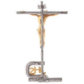 Cruz de altar plateada de latón fundido h. 32 cm s6