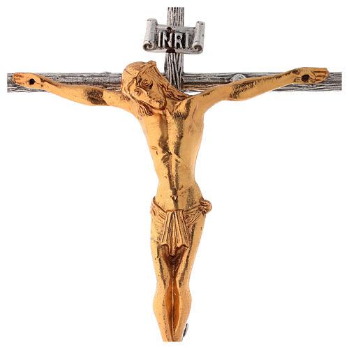 Cruz de altar plateada de latón fundido h. 32 cm 2
